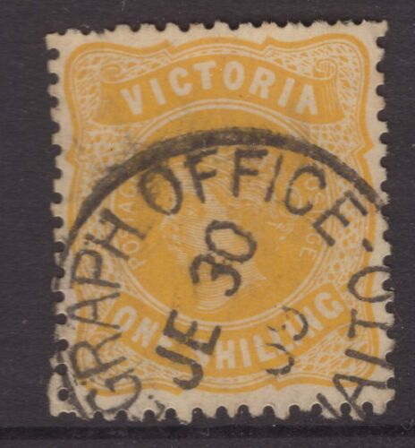 Victoria nice TELEGRAPH OFFICE RIALTO 1909 postmark on 1/- QV stamp