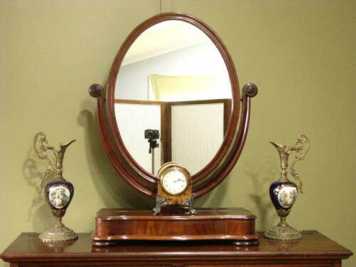 ANTIQUE MAHOGANY TOILET / MAKE UP MIRROR WITH DRAWER ~ BEAUTIFUL GRAIN  c1880s