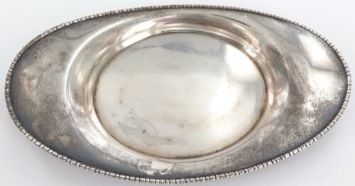 VINTAGE GORHAM STERLING SILVER BEADED EDGE OVAL SHAPED DISH.