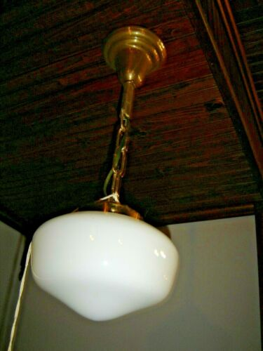 Antique Brass Single Light with White Opal School House Shade. Rewired ~  1655