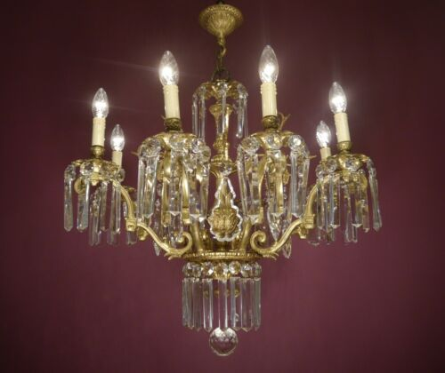 MASTERPIECE ITALY GOLD BRONZE CRYSTAL CHANDELIER CRYSTAL CEILING LAMP Ø 32""