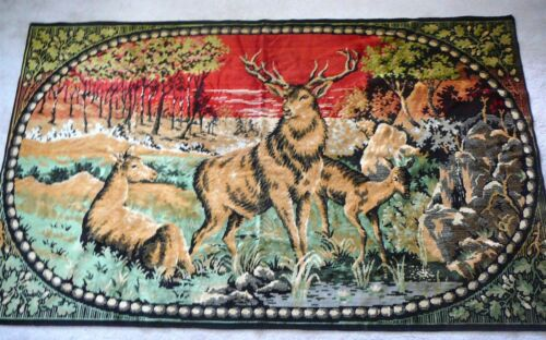 """ELK STAG SENTINEL of the FOREST - Vintage LARGE TAPESTRY - 76"""" X 48"""" - EUC"""