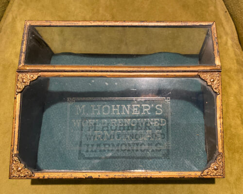 Antique advertising tin slanted display case showcase M Hohners Harmonicas