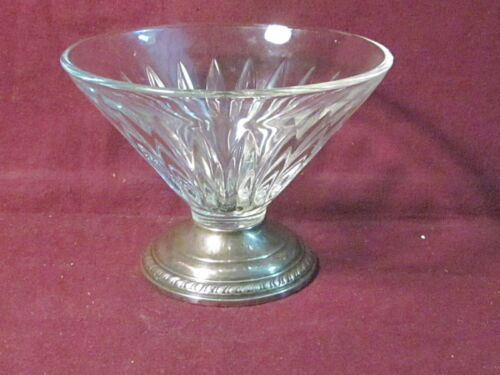 "Unknown Sterling Based Glass SHERBET DISH  3 1/2"" x 4 5/8""  No Mono"