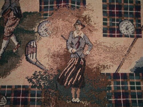 Vtg 90s Woven Tapestry Upholstery Deco Golf Club Scenes Pillow Fabric 2Yx55 #PB5