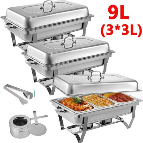 9L / 3 x 3L Trays  Chafing Dish Stainless Steel Buffet Food Warmer AU