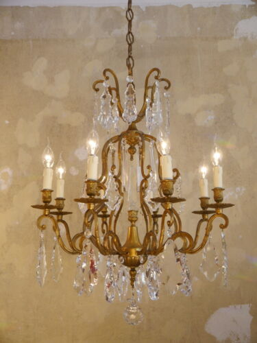 AMAZING ITALY CRYSTAL BRASS GOLD CHANDELIER CEILING LAMP HOME DECOR  LIVING ROOM