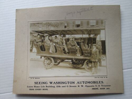 "(1)  EARLY 1900s CABINET CARD, WASHINGTON DC, OPEN TOUR ""BUS"" H M BROWN"