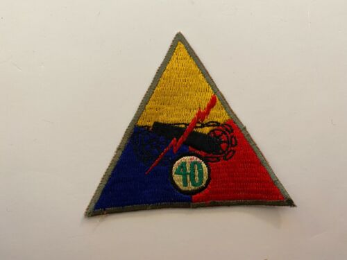 TT308 Korean War US Army Armored Tank Battalion Triangle Patch 40th  WA8Reproductions - 156441