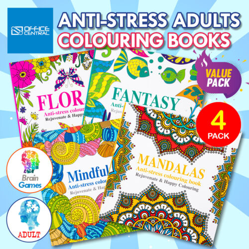 4PK Adult Colouring Books Fun Relaxing Mindfulness Floral Mandalas Fantasy 150 x