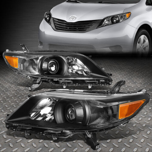FOR 11-20 TOYOTA SIENNA BLACK HOUSING AMBER CORNER PROJECTOR HEADLIGHT HEADLAMP <br/> Factory Style; Only Fits Models with Halogen Headlight!