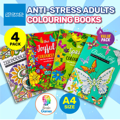 4PK Adult Colouring Books A4 Size Fun Relaxing Mindfulness Florals Patterns