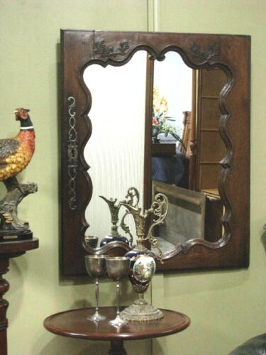 ANTIQUE FRENCH CARVED OAK WALL MIRROR ~ FRAME IS A REPURPOSED CABINET DOOR c1920