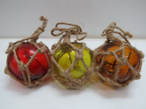 RED YELLOW BROWN 3 INCH COLORED CURIO GLASS FLOATS BALLS BUOYS BOUY FISHING NET