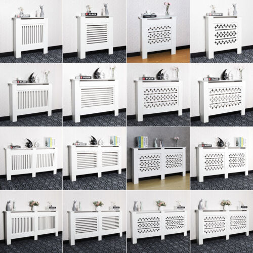 White Radiator Cover Grill Shelf Cabinet MDF Wood Modern Traditional Furniture <br/> White ✔4 Types✔ 5 Sizes✔ Free & Fast Delivery✔