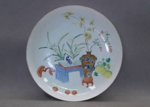 19th C. Chinese Famille Rose Plate Daoguang Mark