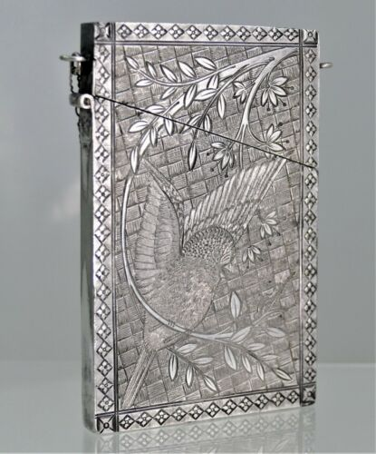 Aesthetic Coin Silver Card Case Bird Motif 1880 Perfect For Credit Card $20