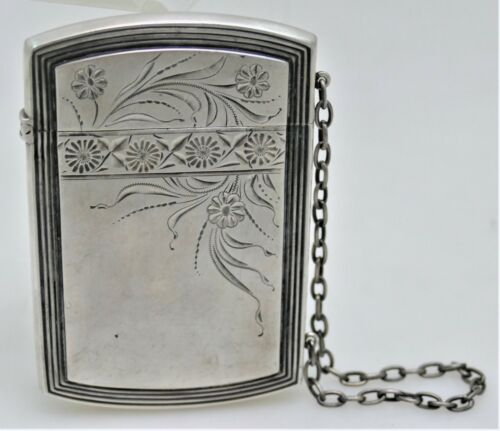 Whiting Sterling Silver Card Case 1890 Aesthetic Motif Perfect 4 Credit Card $20