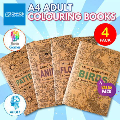 4PK Adult Colouring Books A4 Size Birds Animals Patterns Flowers Mindfulness