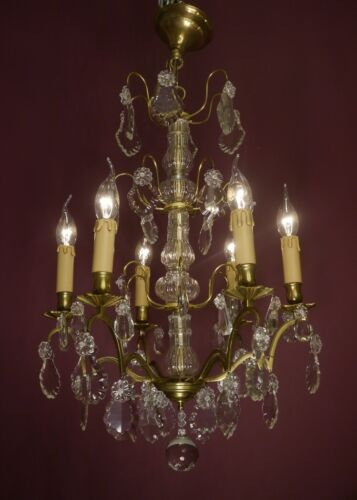 AMAZING FRENCH CRYSTAL BRASS CHANDELIER CEILING LAMP HOME DECOR LIVING ROOM