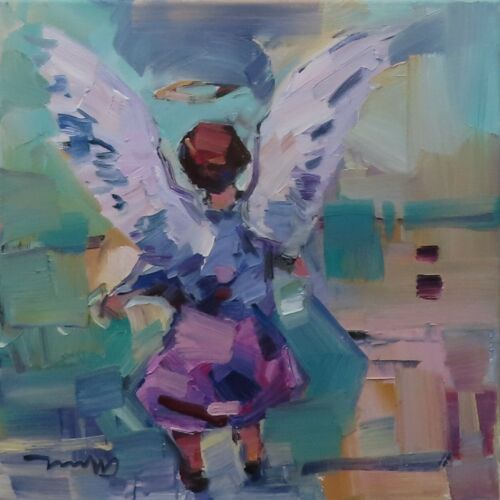 JOSE TRUJILLO OIL PAINTING EXPRESSIONISM LITTLE ANGEL CHILD CONTEMPORARY ART