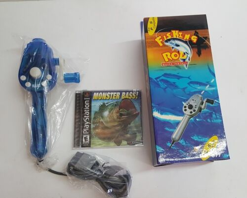 NEW Fishing Rod Pole Controller & Monster Bass Game for Playstation 1 PS2 #K1