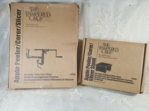 New in Box The Pampered Chef Apple Peeler/Corer/Slicer Tool & Stand NIB Xmas