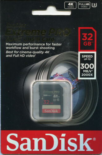 Sandisk Extreme PRO 32GB SDHC Y+UHS-II Card NEW 300 mb/s 2000x speed