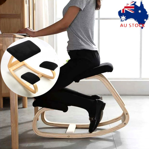 Ergonomic Kneeling Chair Stool Posture Correcting Home Office Rocking Seat Wood
