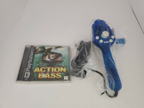 NEW Fishing Rod Pole Controller & Action Bass Game for Playstation 1 PS2 #F3