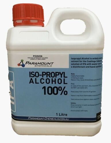 1 L  Isopropyl Alcohol Pure- IPA Rubbing Alcohol 100% OZ Seller Free POSTAGE AU