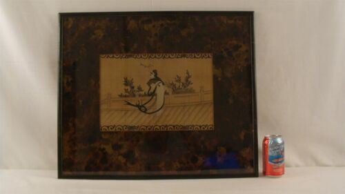 Antique Japanese Woman Throwing Sword W/C Painting