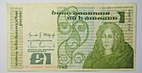 IRELAND: IRISH ONE POUND NOTE 6.1.1986. QUEEN MEDB OF CONNAUGHT. FREE SHIPPING