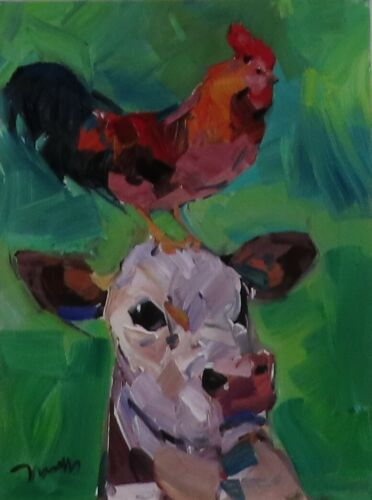 JOSE TRUJILLO OIL PAINTING EXPRESSIONISM COW CHICKEN MODERN CONTEMPORARY ART