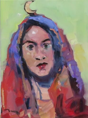 JOSE TRUJILLO OIL PAINTING EXPRESSIONISM PORTRAIT WOMAN MOON CONTEMPORARY ART