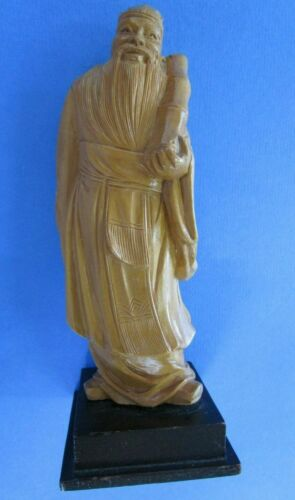 CHINESE VINTAGE  HAND CARVED WOOD FIGURE OF WISE OLD MAN