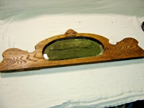 Antique~ Salvage ~  Oak Back Splash with Beveled Mirror ~ Applied Carving  1598