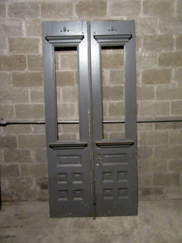 ~ ANTIQUE OAK DOUBLE ENTRANCE FRENCH DOORS ~ 44 X 95 ~ ARCHITECTURAL SALVAGE