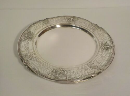 "Set/4 E. G. Webster Silver Plate Embossed 11"" Service Plates"