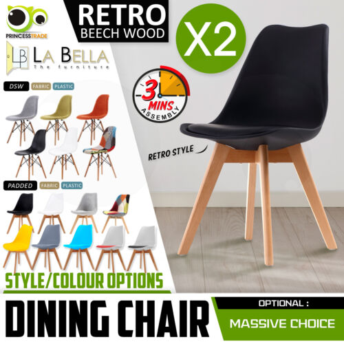 2 x Retro Replica PU Padded DSW Beech Dining Chairs Cafe Kitchen <br/> ✔Quick Assembly ✔Large Varieties ✔Simple to Clea