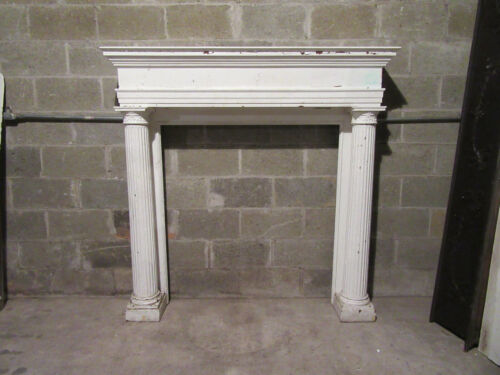 ~ BIG ANTIQUE OAK FIREPLACE MANTEL WITH COLUMNS ~ 60 X 60 42 OPENING ~ SALVAGE