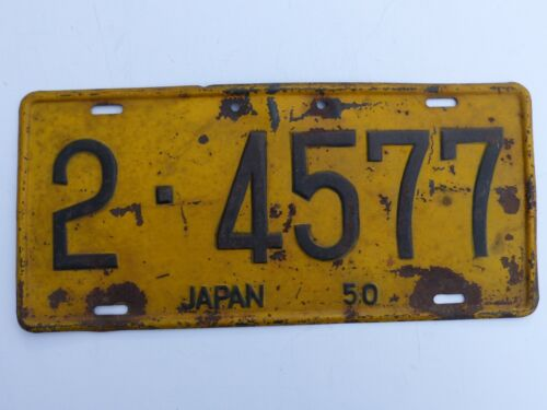 Hard to Find Used 1950 U.S. Forces in Japan Car License Plate # 2- 4577