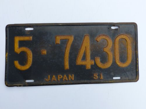 Hard to Find Used 1951 U.S. Forces in Japan Car License Plate # 5- 7430