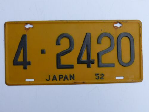 Hard to Find Nice Used 1952 U.S. Forces in Japan Car License Plate # 4- 2420