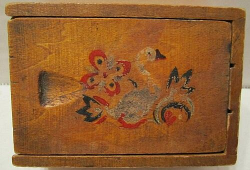 ANTIQUE FOLK ART HAND PAINTED PRIMITIVE WOODEN DOVETAIL BOX W/ BIRTHDAY CANDLES