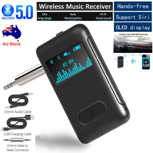 Wireless Bluetooth 5.0 Car Receiver AUX 3.5mm Audio Stereo Adapter OLED Display