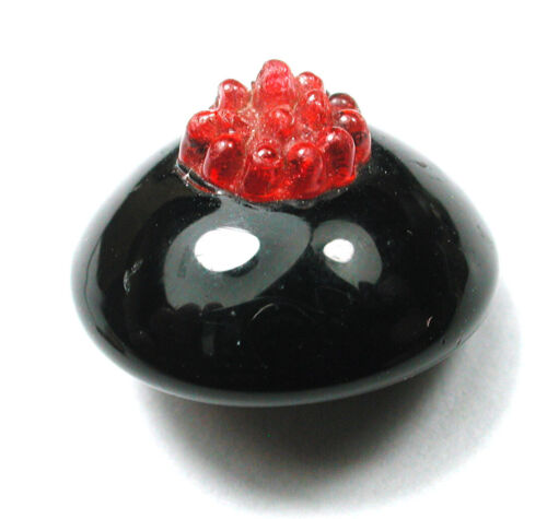 """Antique Black Charmstring Glass Button Swirl Back w Ruby Red Coronet 9/16""""  1860"""