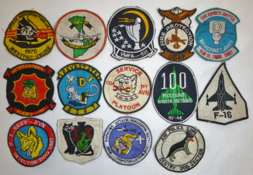 LOT x 14 Patch - BULLDOGS - US AIR ATTACK - KISS of DEATH - Vietnam War - X12Patches - 104015