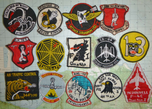 LOT x 14 Patch - US AIR FORCE - AIR ATTACK - USMC - USN - APS - Vietnam War, x04Patches - 104015