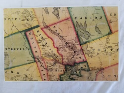 Antique 1861 Map Reprint East Machias Port, Marshfield, Whitneyville Maine
